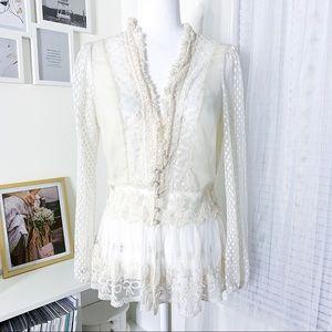 Anthropologie A'reve Crochet Lace Shear Top Size L